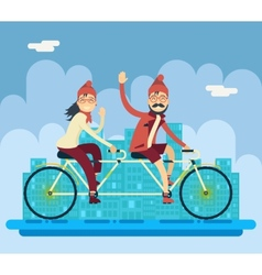 Hipster male female characters riding companion vector