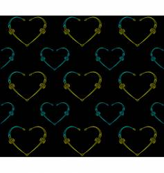 seamless black pattern with hearts vector image vector image