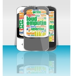 Touchscreen smart phone set with social word cloud vector image