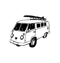 vintage hand drawn surfing bus sketch beach vector image