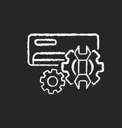 Ac repair service chalk white icon on black vector