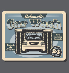 Automatic car wash service vintage poster vector