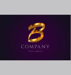 B gold golden alphabet letter logo icon design vector