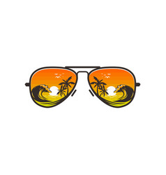 Beach glasses logo design with beach views vector