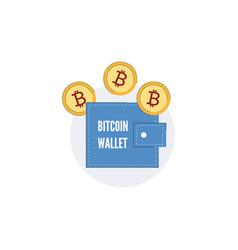 bitcoin wallet concept purse gold coin icon vector image