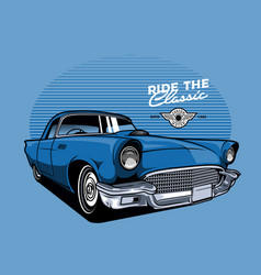 blue classic car vector image