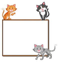 Border template with three cats vector