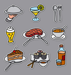 cafe food stickers vector image