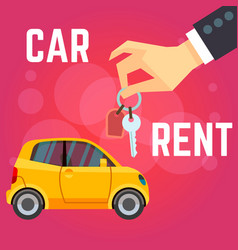 car rent flat-style yellow vector image
