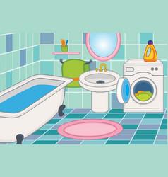 Cartoon bathroom interior vector