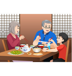 Chinese kid eating with his grandparents vector
