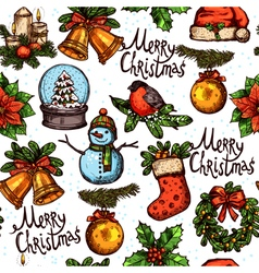 christmas color sketch pattern vector image