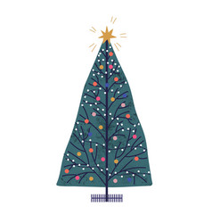 christmas tree hand drawn new vector image