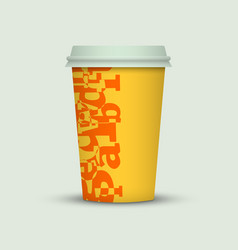 Coffee cup with creative letters vector