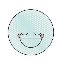 Color crayon silhouette happy face male emoticon vector