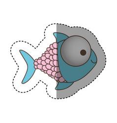 Color happy fish cartoon icon vector