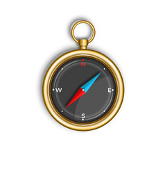 Compass isolated on white background round gold vector