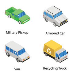 Conveyance and vehicles in isometric style vector