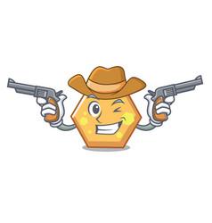 cowboy hexagon character cartoon style vector image