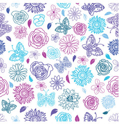 cute hand drawn seamless garden floral pattern vector image