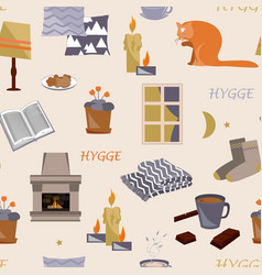 Cute hygge seamless pattern cosy home vector