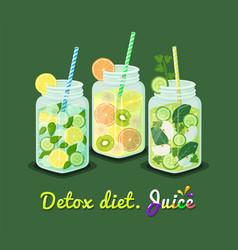Detox diet juice collection vector