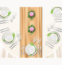 Dinner table set up vector