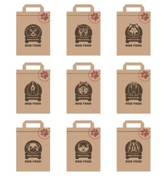 Dog food packages set vector