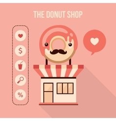 Donut shop design element set Food delicious vector