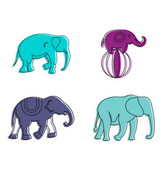 Elephant icon set color outline style vector