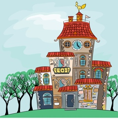 Fairytale cheerful multicolored multi-storey house vector