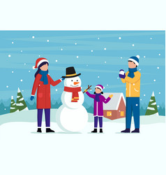 Family winter outdoor pastime concept male and vector