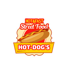 fast food hot dog sandwich icon vector image