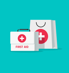 first aid kit flat cartoon vector image