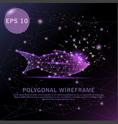fish purple background futuristic wire frame vector image