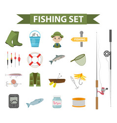 fishing icon set flat cartoon style fishery vector image