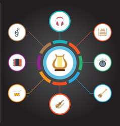 Flat icons knob tambourine banjo and other vector