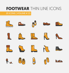 footwear linear thin line icons set with boots vector image