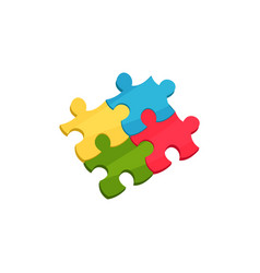 four connected pieces of puzzle cartoon icon of vector image