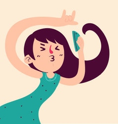 Fun Girl Taking a Selfie vector