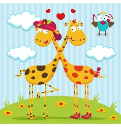 Giraffes boy girl and bird vector