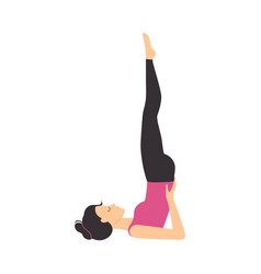 Girl doing yoga exercise slim sporty young woman vector
