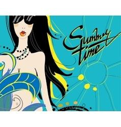 Girl in sunglasses in summer vector image