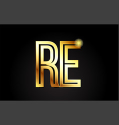 Gold alphabet letter re r e logo combination icon vector