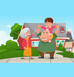 grandparents playing with their grandson vector image