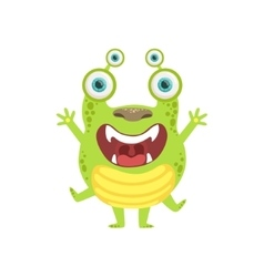 Green Screaming Friendly Monster vector image