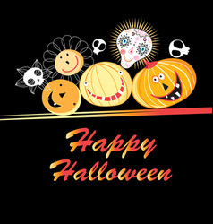 halloween greeting card with funny pumpkins and vector image