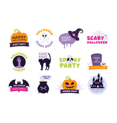 halloween logo trick or treat labels and sticker vector image