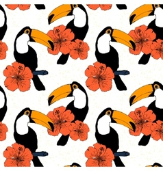 Hand drawn seamless pattern with toucans in vector image