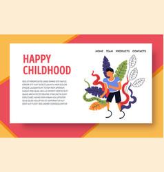 Happy childhood kid with prosthesis landing web vector